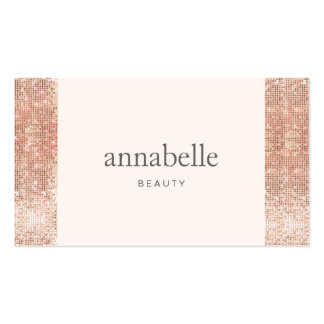 Trendy Pink Faux Rose Gold Sequin Beauty Salon Business Card