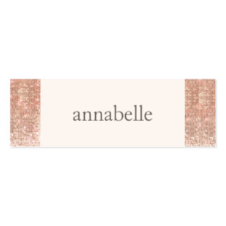 Trendy Pink Faux Rose Gold Sequin Beauty Salon Double-Sided Mini Business Cards (Pack Of 20)
