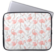 Trendy Pink Flamingos and Chevrons Pattern Laptop Sleeve