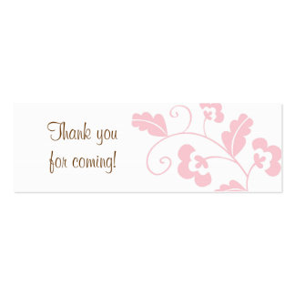 Trendy Pink Floral Bridal Shower Favor Gift Tags Mini Business Card
