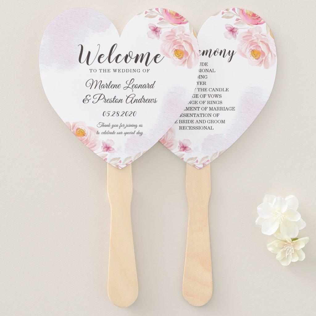 Trendy Pink & Gold Floral Wedding Program Hand Fan