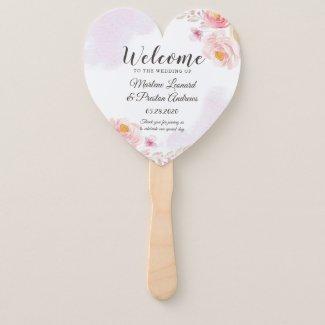 Heart Wedding Program Hand Fan, Pink Gold Floral