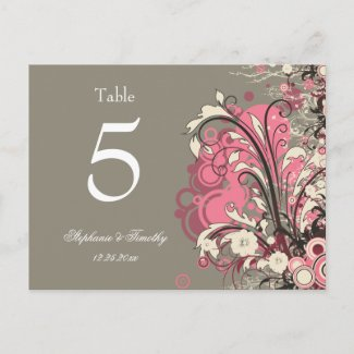 Trendy pink gray grunge swirl wedding table number postcard