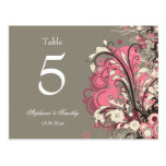 Trendy pink gray grunge swirl wedding table number postcards