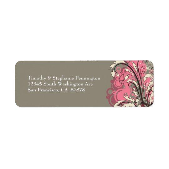 Trendy pink gray grunge swirls address labels