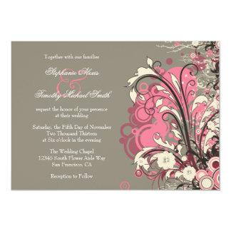 Trendy pink gray grunge swirls wedding invitation