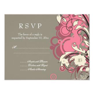 Trendy pink gray grunge swirls wedding RSVP card