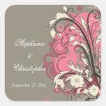 Trendy pink gray grunge swirls wedding stickers