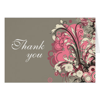 Trendy pink gray grunge swirls wedding thank you card