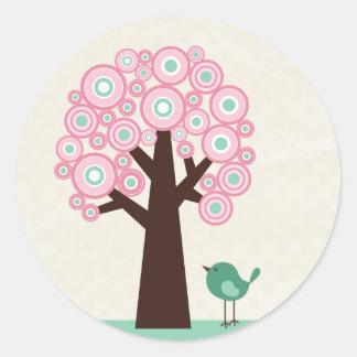 Trendy pink green circles tree bird sticker seal