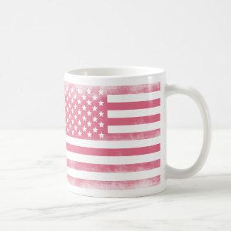 Trendy Pink Grunge American Flag Classic White Coffee Mug