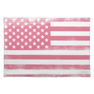 Trendy Pink Grunge American Flag Cloth Placemat
