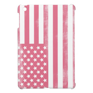 Trendy Pink Grunge American Flag Cover For The iPad Mini