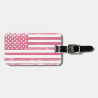 Trendy Pink Grunge American Flag Luggage Tag