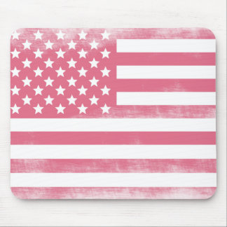 Trendy Pink Grunge American Flag Mouse Pad