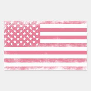 Trendy Pink Grunge American Flag Rectangular Sticker