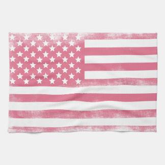 Trendy Pink Grunge American Flag Towel
