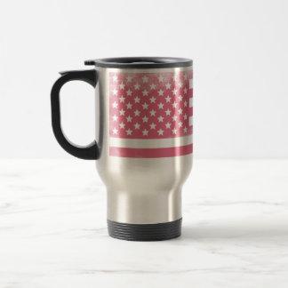 Trendy Pink Grunge American Flag Travel Mug