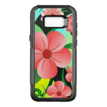 Trendy Pink Hibiscus Floral Tropical Flower Design OtterBox Commuter Samsung Galaxy S8  Case