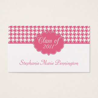 Trendy pink houndstooth graduation name card