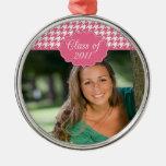 Trendy pink houndstooth graduation round ornament