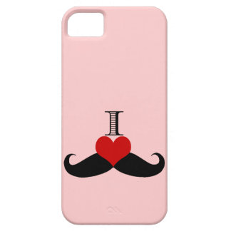 Trendy PInk I love Mustaches iPhone Case