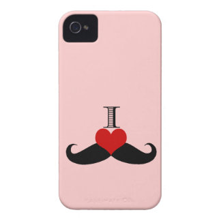 Trendy PInk I love Mustaches iPhone Case Case-Mate iPhone 4 Cases