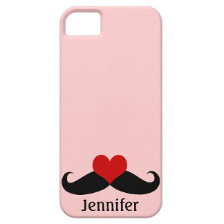 Trendy Pink I love Mustaches with Name iPhone Case