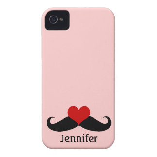Trendy Pink I love Mustaches with Name iPhone Case iPhone 4 Case-Mate Case
