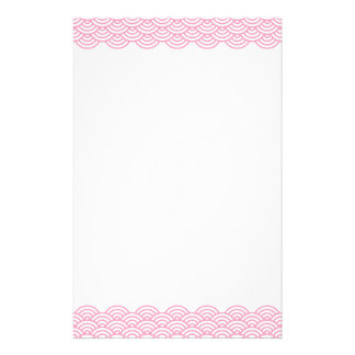 Trendy pink Japanese wave pattern stationery