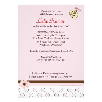 Trendy Pink Ladybug 5x7 Bridal Shower Invite