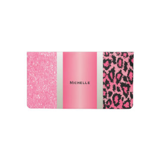Trendy Pink Leopard and Glittery Accents Checkbook Cover