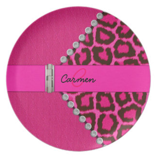 Trendy Pink Leopard and Hinge Monogram Party Plate