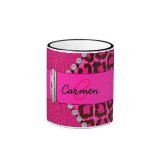 Trendy Pink Leopard and Hinge Monogram Ringer Mug