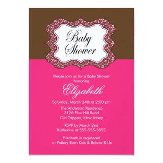 Trendy Pink Leopard Frame Baby Shower Invitation