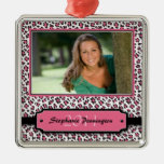 Trendy pink leopard graduation photo ornament