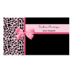 Trendy Pink Leopard Print Fashion Boutique Business Card Templates