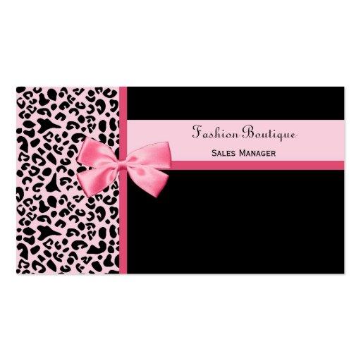 Trendy Pink Leopard Print Fashion Boutique Business Card Templates