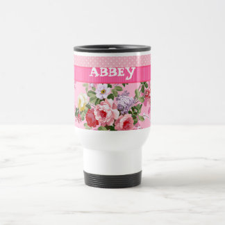 Trendy Pink Monogram Vintage Floral Polka Dots 15 Oz Stainless Steel Travel Mug