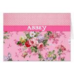 Trendy Pink Monogram Vintage Floral Polka Dots Cards