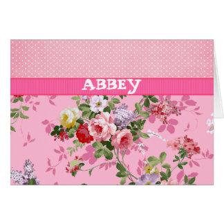 Trendy Pink Monogram Vintage Floral Polka Dots Card