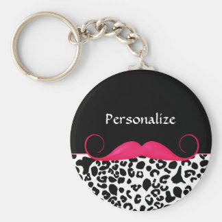Trendy Pink Mustache Girly Leopard Print With Name Basic Round Button Keychain