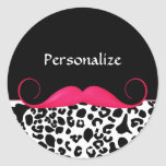 Trendy Pink Mustache Girly Leopard Print With Name Stickers