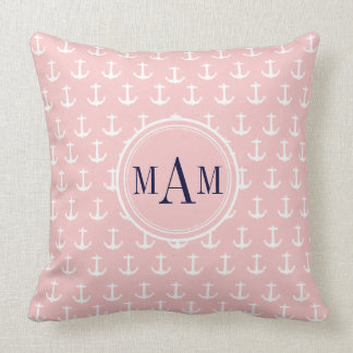 Trendy Pink Nautical Anchor Monogram Throw Pillow Pillow