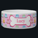 "Trendy Pink Owls Customized Pet Dog Food Bowl<br><div class=""desc"">Super cute dog food bowl featuring cute colorful owls and a dog bone with your dog&#39;s name in the bone.</div>"