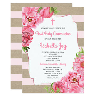 Trendy Pink Peonies First Holy Communion canvas Card
