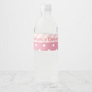 Trendy Pink Polka Dot Stripes Pattern Water Bottle Label