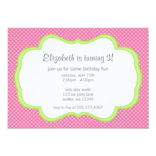 Trendy Pink Polka Dots Green Frame Birthday Party Card