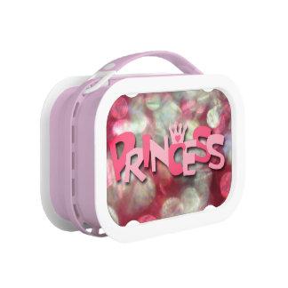 Trendy Pink Princess Bokeh Lunch Boxes