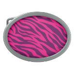Trendy Pink Purple Zebra Stripes Wild Animal Print Oval Belt Buckle